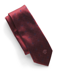 Made In Italy Silk Geometric Pattern Tie