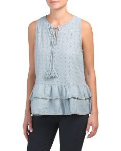 Made In Italy Linen Eyelet Top