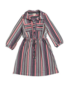 Big Girls Striped Shirt Dress