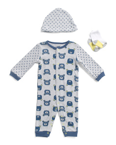 Newborn Boys 3pc Bear Coverall Set