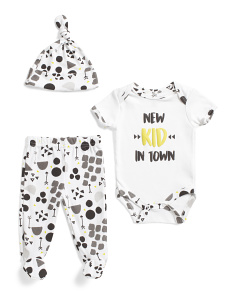 Newborn Boys 3pc New Kid In Town Footed Pant Set