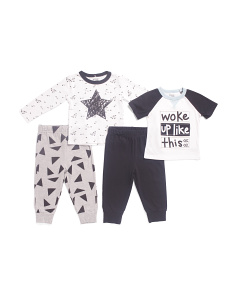 Infant Boys 4pc Woke Up Like This Mix Match Tee Set