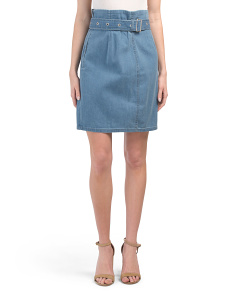 Tranquil Pleat Front Belted Denim Skirt