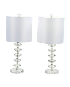 Set Of 2 Stacked Crystal Table Lamps