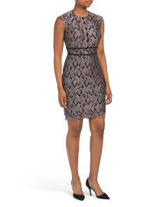 Petite Lace Dress With Scallop Trim