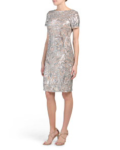 Petite Contrast Embroidered Sequin Dress