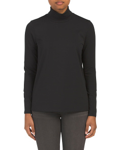 Pima Cotton Knit Turtleneck Top