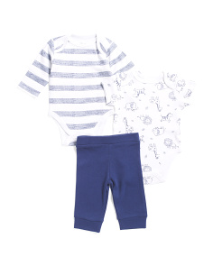 Newborn Boys 3pc Giraffe Pant Set
