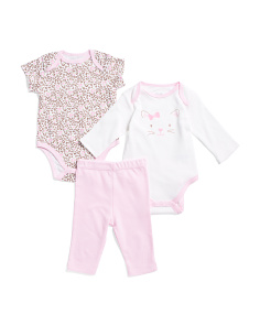 Newborn Girl 3pc Kitty Pant Set