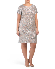 Plus Contrast Embroidered Sequins Dress