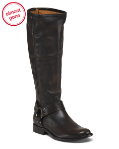 Tall Shaft Harness Leather Boots