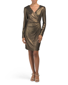 Foiled Jersey Long Sleeve Dress