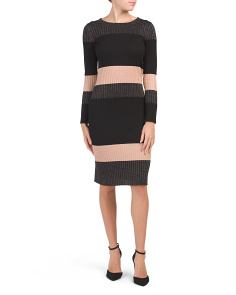 Long Sleeve Color Block Midi Dress