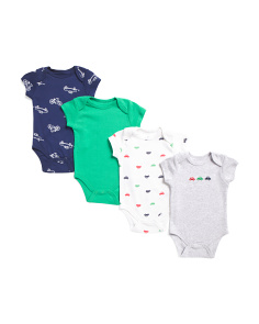 Newborn Boys 4pk Car Bodysuit Set