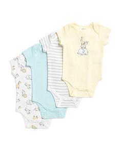 Newborn Boys 4pk Safari Bodysuits