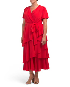 Plus Tiered Tea Length Dress