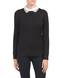 Scalloped Collar Long Sleeve Pullover Sweater