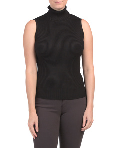 Ribbed Neck Sleeveless Shell Top