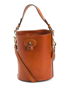 Made In Italy Leather Bucket Suede Hobo