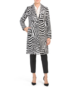 Long Zebra Faux Wool Coat