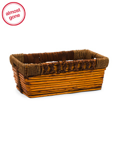 Medium Rectangle Willow Basket With Wrapping Handles