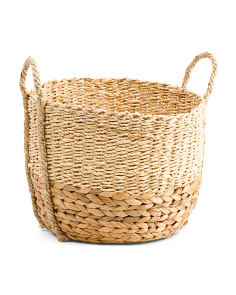 Large Water Hyacinth And Palm Leaf Basket With Rope Handles