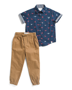 Little Boys 2pc Dino Top & Twill Joggers Set