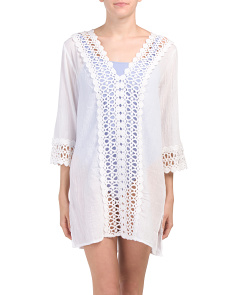 Three-quarter Sleeve Lace Tunic Cover-up