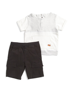Little Boys 2pc Hoodie And Denim Short Set