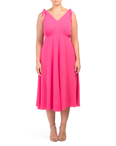 Plus Pebble Crepe Tea Length Dress