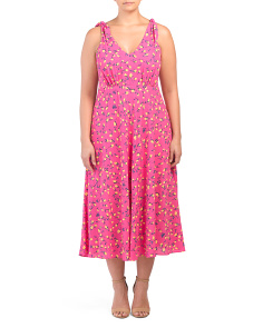 Plus Vintage Tulip Rose Maxi Dress