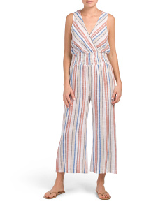 Striped Jumpsuit Cover-up