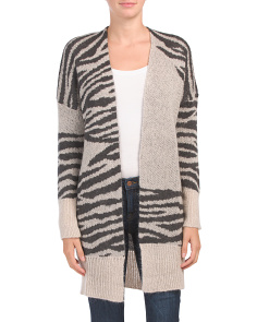 Made In Italy Zebra Jacquard Open Cardigan