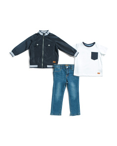 Infant Boys 3pc Jacket And Denim Pant Set