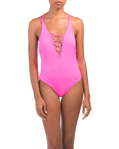 7786119a31 Strappy Plunging One-piece Swimsuit ...