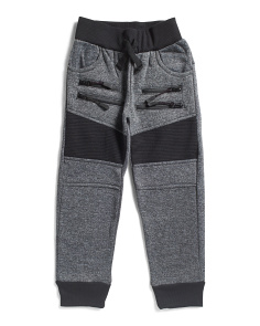 Little Boys Moto Knit Jogger Pant With Zippers