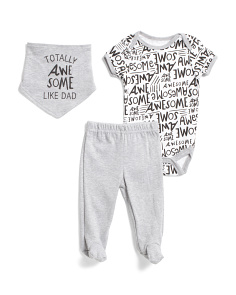 Newborn Boys 3pc Awesome Pant Set