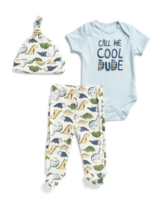 Newborn Boys 3pc Dino Pant Set