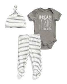Newborn Boys 3pc Dream Big Footed Pant Set