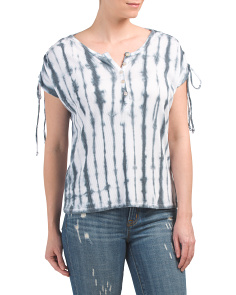 Tie Dye Ruched Shoulder Top