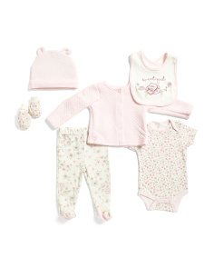 Newborn Girls 6 Pc Floral Cardigan Set