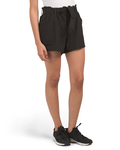 Woven Gathered Waist Belted Shorts
