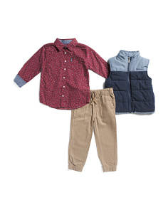 Little Boys 3pc Puffer Vest And Jogger Set With Top