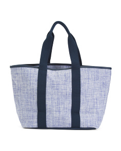 Leather Trim Plaid Woven Fabric Tote