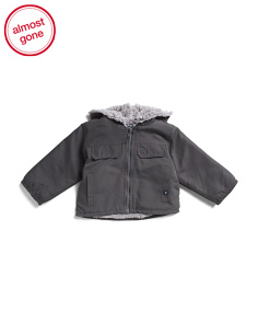 Infant Boys Hooded Textured Lined Jacket