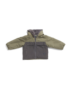 Infant Boys Textured Fleece Lined Color Blocked Jacket