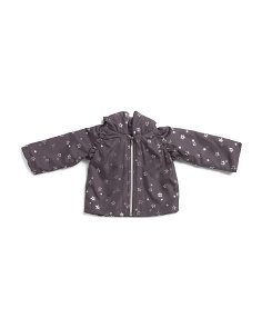 Infant Girls Star Print Plush Lined Jacket
