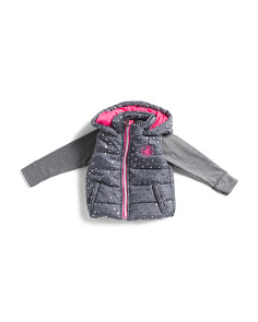 Toddler Girls Printed Dot Puffer Jacket