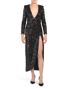 Sequin High Slit Dress