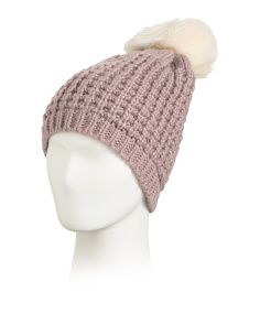 Grid Texture Knit Beanie With Pom